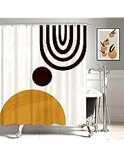 KOMLLEX Mid Century Abstract Sun Rainbow Shower Curtain