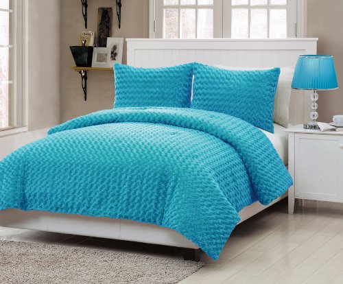 735732812965 - VCNY Rose Fur 2-Piece Comforter Set, Twin, Blue carousel main 0