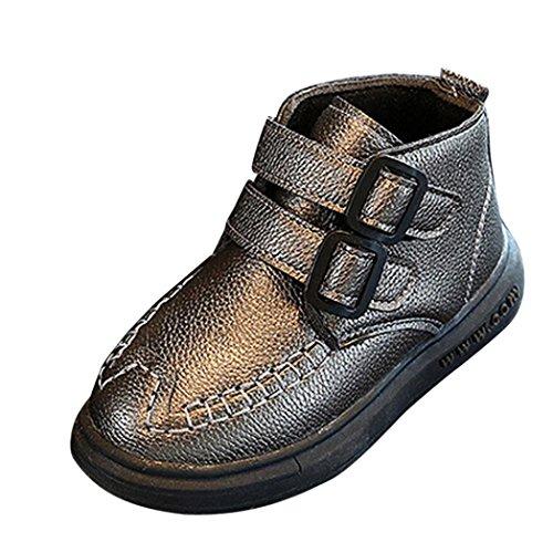HUHU833 Kinder Mode Jungen Mädchen Stiefel Bowknot Blumen Martin Stiefel Winter Warm Boots Kinder Schuhe Casual Snow Boots Schuhe Silber