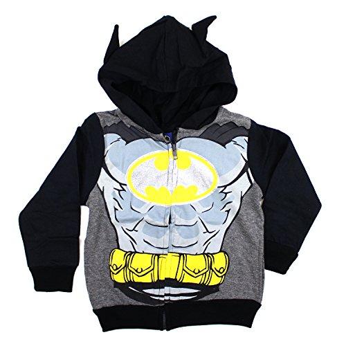 KIDS COMIC SUPERHERO ZIP-UP FLEECE W COSTUME HOODIE (2T, Batman Silver Grey)