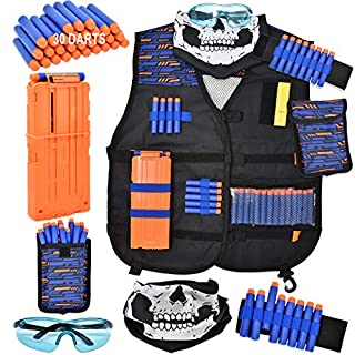 Gift Boutique Kids Tactical Vest Kit for Nerf Guns N-Strike Elite Series with 30 Refill Darts, Tactical Skull Mask, Dart Pouch, Wrist Band, X-Large Reload Clip and Protective Glasses for Boys