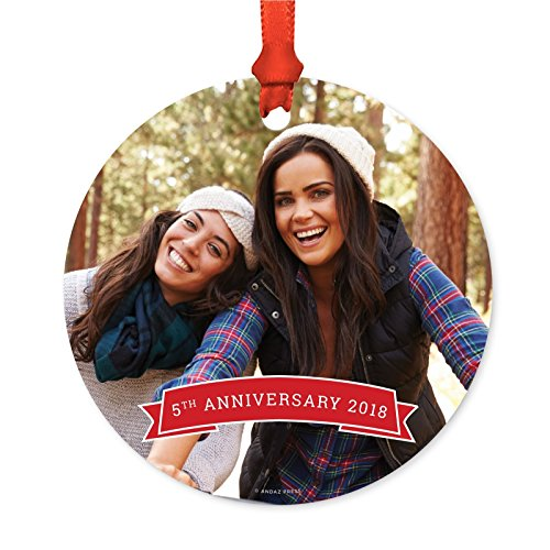 Andaz Press Photo Personalized Christmas Ornament, Red Banner, 5th Anniversary 2019, 1-Pack, Includes Ribbon and Gift Bag, Custom Image and Anniversary Date