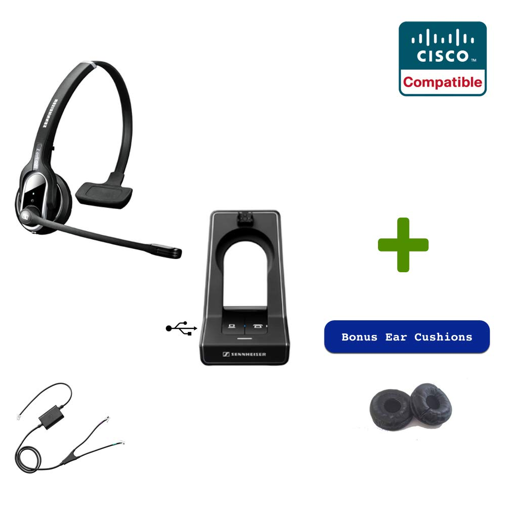 Sennheiser SD PRO1 - Deskphone Cordless Headset with Cisco Remote Answering EHS Included | Compatible Cisco Models: Cisco 8941 and 8945