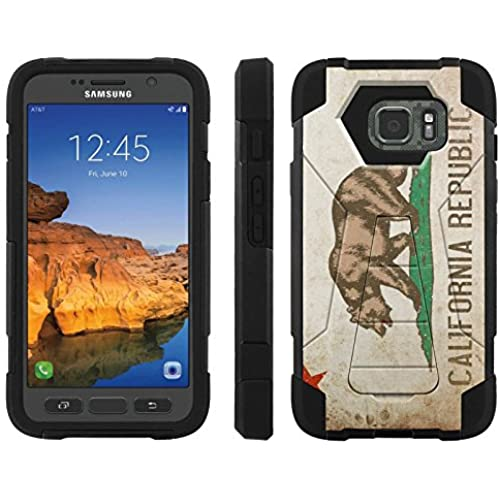 AT&T [Galaxy S7 Active] ShockProof Case [ArmorXtreme] [Black/Black] Hybrid Defender [Kickstand] - [California Flag] for Samsung Galaxy [S7 Active] Sales