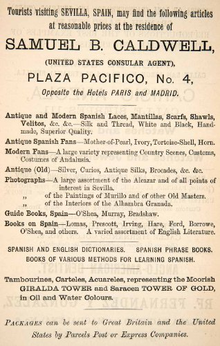 1895 Ad Samuel Caldwell Plaza Pacifico Spanish Sevilla Business Shop Giralda - Original Print - The Plaza Stores At