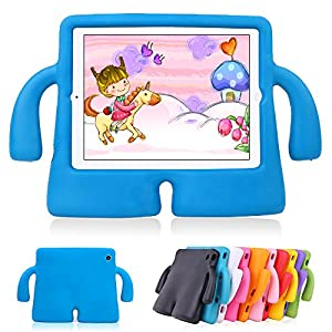 Lioeo iPad Air 2 Kids Case iPad Air Kids Case Cute 3D Cartoon Light Weight Shock Proof Protection Cases EVA Foam Protective Children Cases and Covers for Apple iPad 5 6 Generation New iPad 2017 (Blue)