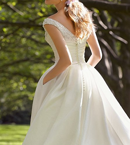 Wedding Gown With Pockets: Amore Bridal Women's Beaded Satin Tea Length Wedding
