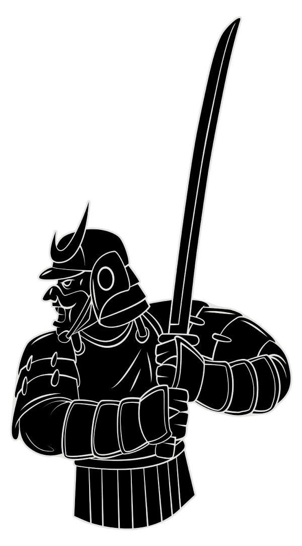 Wandtattoo Asien Schwertkämpfer mit Rüstung Wandsticker Wanddeko Wohnzimmer