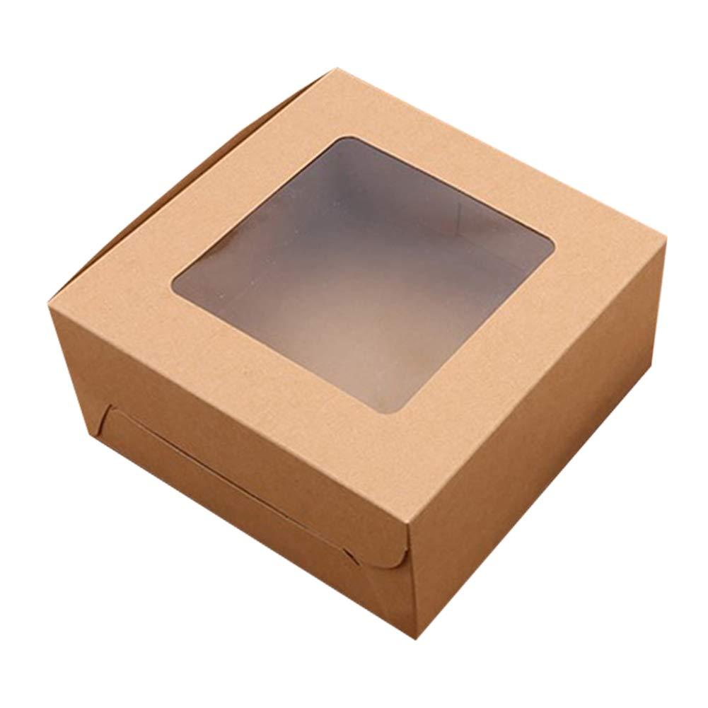 Style :2 Holes Qagazine Bianco Feste Confezione da 10 scatole da imballaggio per Cupcake in Carta Kraft Biscotti e cioccolatini per Matrimoni