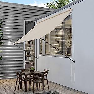 [pro.tec]® Toldo montando en la pared – Beige – 200 x 120 cm – Terraza Balcón Toldo extensible – Persiana de la ventana Exterior