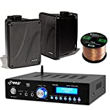 Amp And Speaker Combo Packge: Pyle PDA5BU Bluetooth Radio USB AUX Amplifier Stereo Receiver Bundle With 2x Kicker KB6000B 6.5