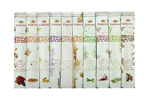 Premium Natural Fragrance Incense Sticks - Set of 10 Flavors with Holder - Nag Champa, Oudh, Favorite, Rose, Sandalwood, Lavender, Frank Frankincense, Lemongrass, Citronella, Saffron