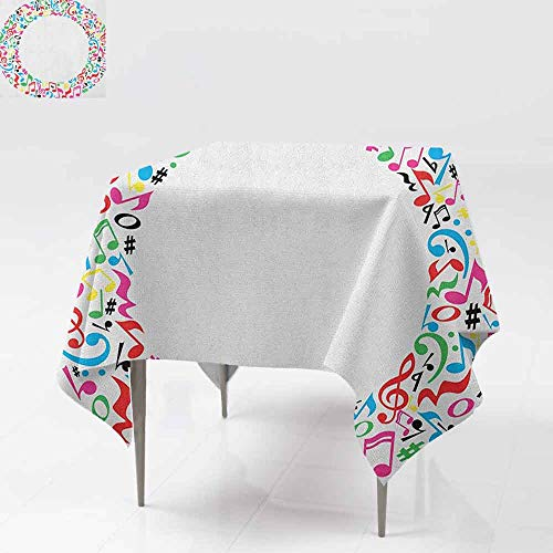 DUCKIL Wrinkle Resistant Tablecloth O Character Capitalized with Collection of Multicolored Musical Elements Alphabet Picnic W54 xL54 Multicolor
