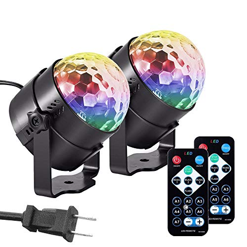 【2 Pack】Party Lights Sound Activated Strobe Disco Light, 7 Color Effects with Remote Control Dj Lights Stage Light for Festival Bar Club Party Wedding Show Home - Cristal Wall Lighting