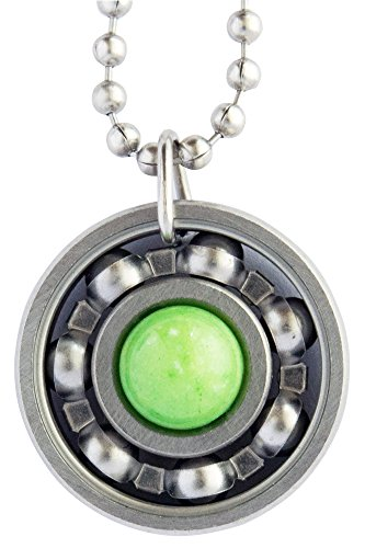 Green Apple Jade Roller Derby Skate Bearing Pendant Necklace (18