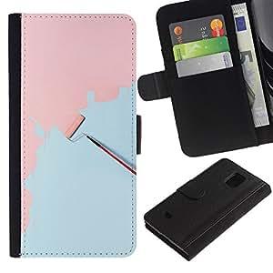 KingStore / Leather Etui en cuir / Samsung Galaxy S5 Mini, SM-G800 / Pintura Mural Art Pink Light Blue Scroll