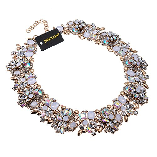 Jerollin Vintage Gold Tone Chain Multi-Color Glass Crystal Charm Choker Statement Collar Necklace -