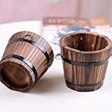 Generic Round Barrel Wooden Planter Flower Pots Home Garden Office Wedding Decors