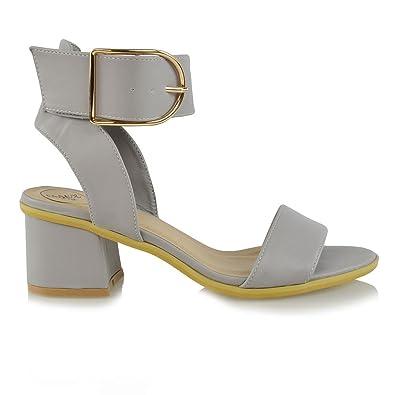fb648de6519 ESSEX GLAM Ladies Ankle Strap Sandals Low Block Heel Womens PEEP Toe Buckle  Party Shoes Size