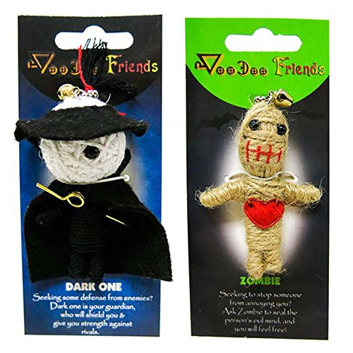 FROG SAC Voodoo Dolls Set of 2 - Yarn String Doll Great as Keychain, Charm for Purse, Backpacks, Office Accessories - Great Gifts (Dark One & (Office Accessory Pack)