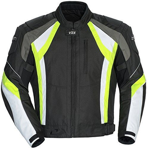 Cortech VRX Men's Textile Armored Motorcycle Jacket (Black/Hi-Viz/White, Large)