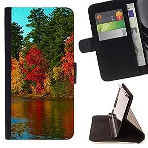 BullDog Case - FOR/Samsung ALPHA G850 / - / Nature Beautiful Forrest Green 79 /- Monedero de cuero de la PU Llevar cubierta de la caja con el ID Credit Card Slots Flip funda de cuer