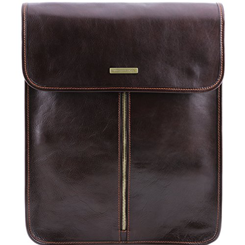 Tuscany Leather Exclusive leather shirt case Dark Brown by Tuscany Leather