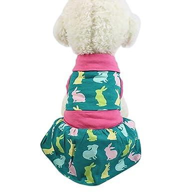 Ropa para Mascotas,Dragon868 Adorable Perro pequeño Conejo Impreso Chaleco Vestidos: Amazon.es: Ropa y accesorios