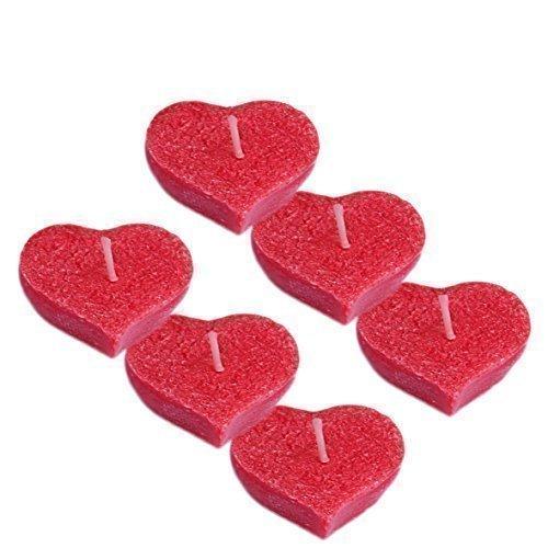 6 x Schwimmkerzen in Herzform aus 100 % pflanzlichem Stearin