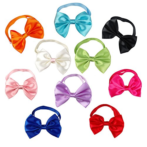 PET SHOW Pet Cat Dog Neck Bow Ties Collar Bowties Plain Wedding Grooming Accessories Color Assorted Pack of 100
