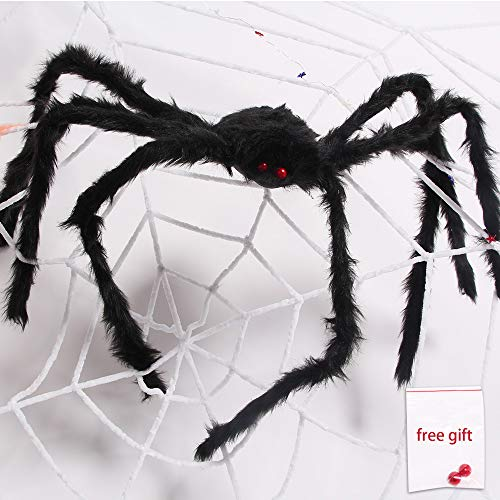 AmyHomie Giant Halloween Scary Yard Outdoor Decor, Fake Large Hairy Spider Props Christmas, 50inch, Black
