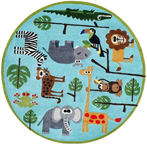 (Momeni Rugs LMOJULMJ19BLU500R Lil' Mo Whimsy Collection, Kids Themed Hand Carved & Tufted Area Rug, 5' Round, Multicolor Jungle Animals on Blue)