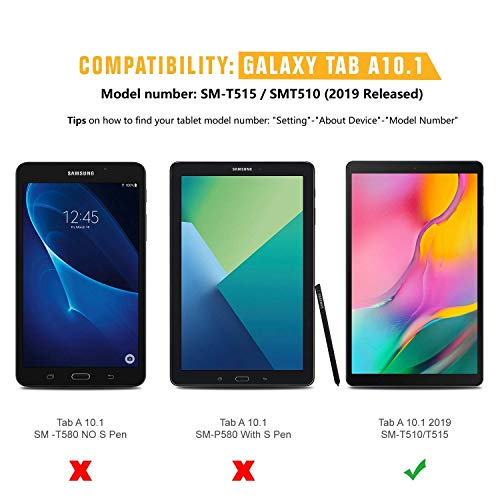 Protector de pantalla para Galaxy Tab A 10.1 2019, [Paquete de 3] Cristal templado de dureza SPARIN 9H para Samsung Galaxy Tab A 10.1 2019 SM-T515 / T510, sin burbujas / alta respuesta / resistente a los arañazos