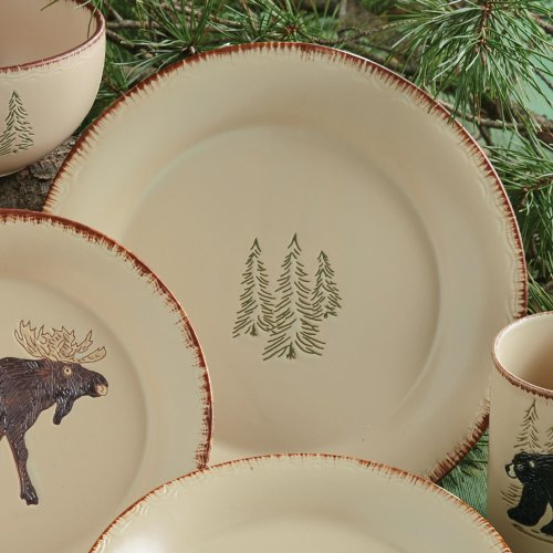 Bear Dinner Plate (Bear & Moose Stoneware Lodge Dinner Plate - Cabin Kitchen Tableware)