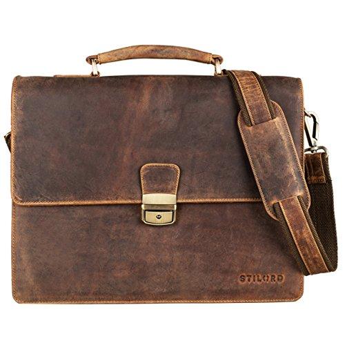 STILORD 'Rion' Bolso clásico del negocio pequeño del cuero cartera bolso de la oficina documento hombres mujeres con piel de vaca genuina, Color:negro marrón - medio