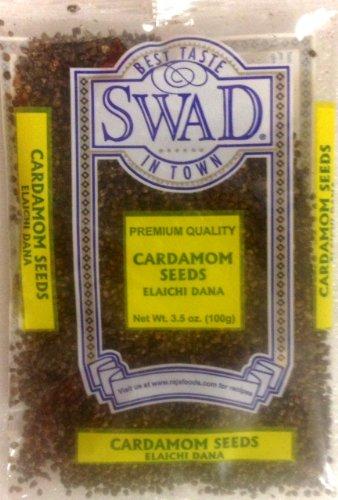 Swad Premium Quality Cardamom Seeds Decorticated (Elaichi Dana) / 100g., 3.5oz (Pack of 3) by Swad