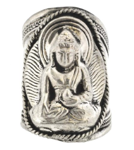 White Metal Buddha Tibetan Ring, Silver Ring