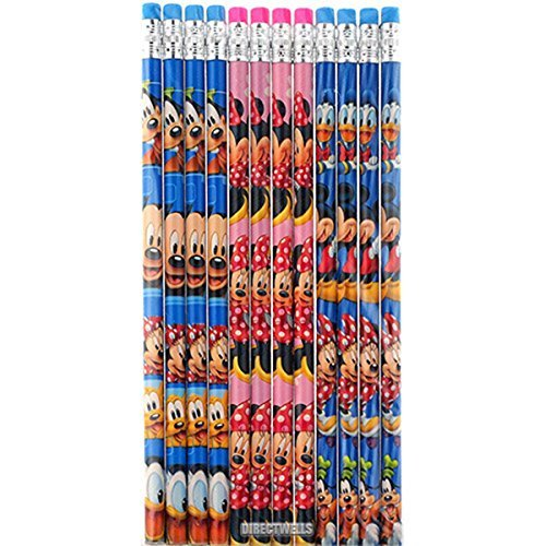 - Disney Mickey And Minnie Mouse Authentic Licensed 12 Wood Pencils Pack