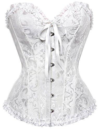 Chiyou Women's Lace Up Boned Overbust Corset Bustier Bodyshaper Top (White-0810J 01, XXL) (Bustier White Corset)