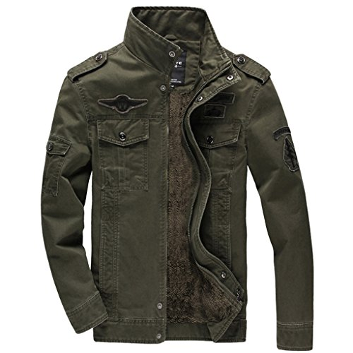Sleeve Multi-Pocket Outdoor Lightweight Jacket Military Jacket Army Green (Army Green Mens Military Jacket)