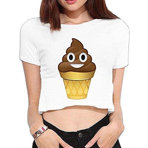 Ghhpws Poop Shit Emoji Ice Cream Summer Women Sexy Revealed Navel Short Sleeve Bare Midriff Crop Top Tshirt White S]()