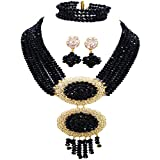 acuzv 6 Rows African Necklaces for Women Nigerian Beads Jewelry Set Wedding Bridal Party Jewelry Sets (Black)