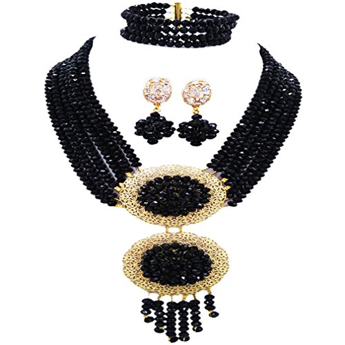 acuzv 6 Rows African Necklaces for Women Nigerian Beads Jewelry Set Wedding Bridal Party Jewelry Sets (Green And Gold Costume Jewelry)
