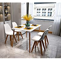SHENGXIA Modern Wood Dining Table, Set of 4 Dining Chair with Soft Padded Seat White (Ships from US)