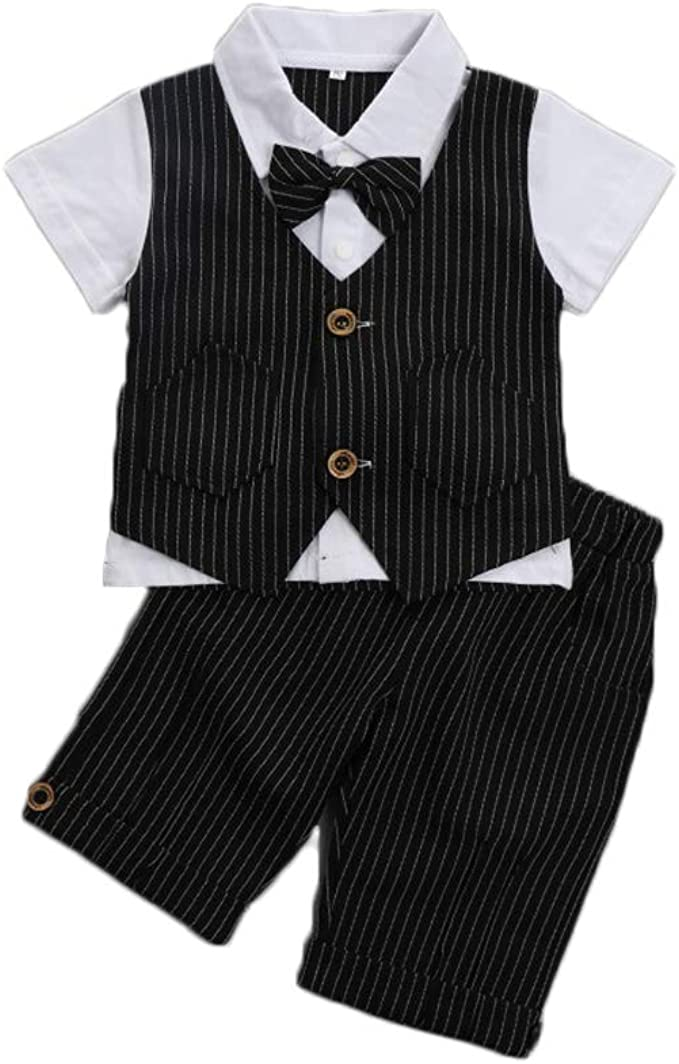 Baby Summer Baby Boys Gentleman Formal Short Sleeve Outfits Suits Bow Ties Shirts Vest Pants Toddler Clothes Sets