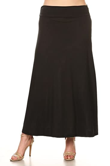 5a15bad44a2f5 Amazon.com  PB COUTURE Womens Plus Size Long Maxi Skirt Flared Wide ...