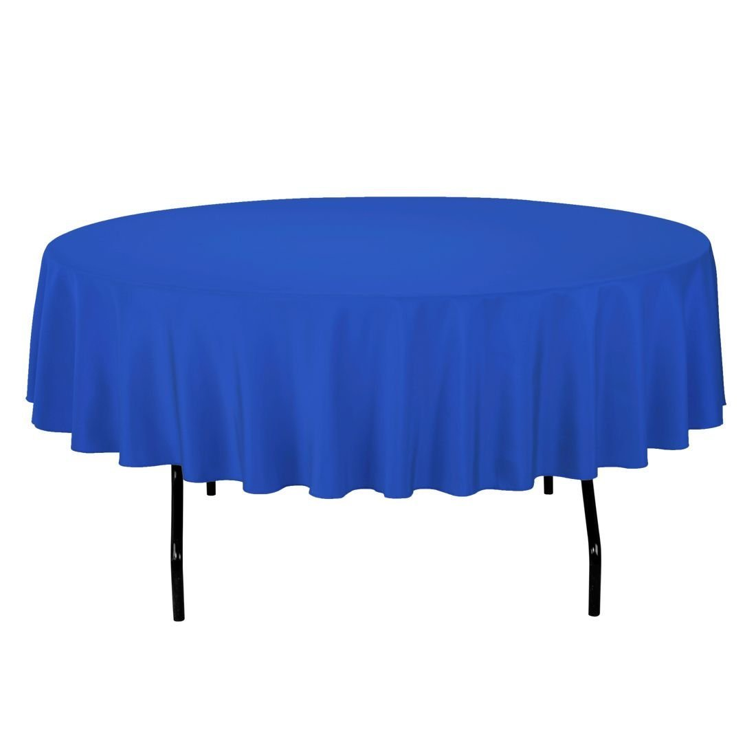 12 Pack 84'' ROUND Table Cover Premium Plastic Tablecloth for any Party or Event (Blue)