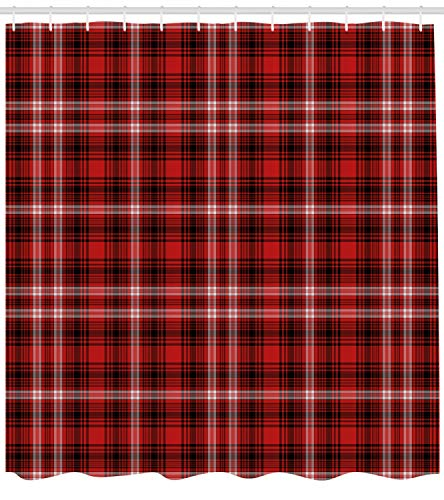 Ambesonne Red Plaid Shower Curtain, Quilt Squares Rectangles Flannel Pattern Geometric Inspirations Abstract, Fabric Bathroom Decor Set with Hooks, 70 Inches, Red Black White