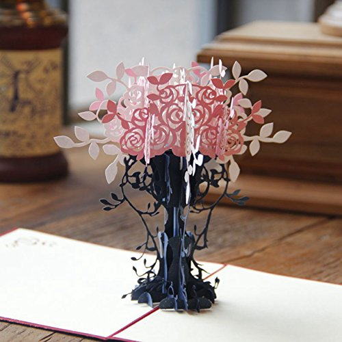Paper Spiritz Flowerpot 3D Pop up Greeting Card Best Wishes Thank You Mom Postcard with Envelope Laser Cut Mother's Day Birthday Post Card (Pack of 1)