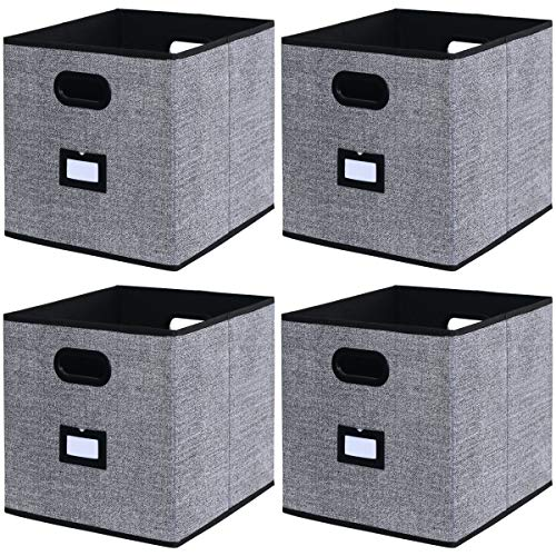 Onlyeasy Cloth Storage Bins Cubes Baskets Containers - 4 Pack Flodable Drawers Cubby Bookcase Organizers with Lable Holder and Double Handles for Toys Clothes DVDs Books, 13